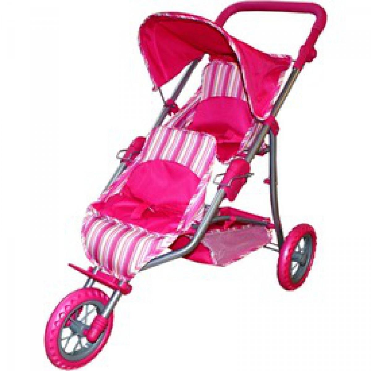 Játék babakocsi - 3 kerekű játék ikerbabakocsi  pink csíkos ... 84b84209dc