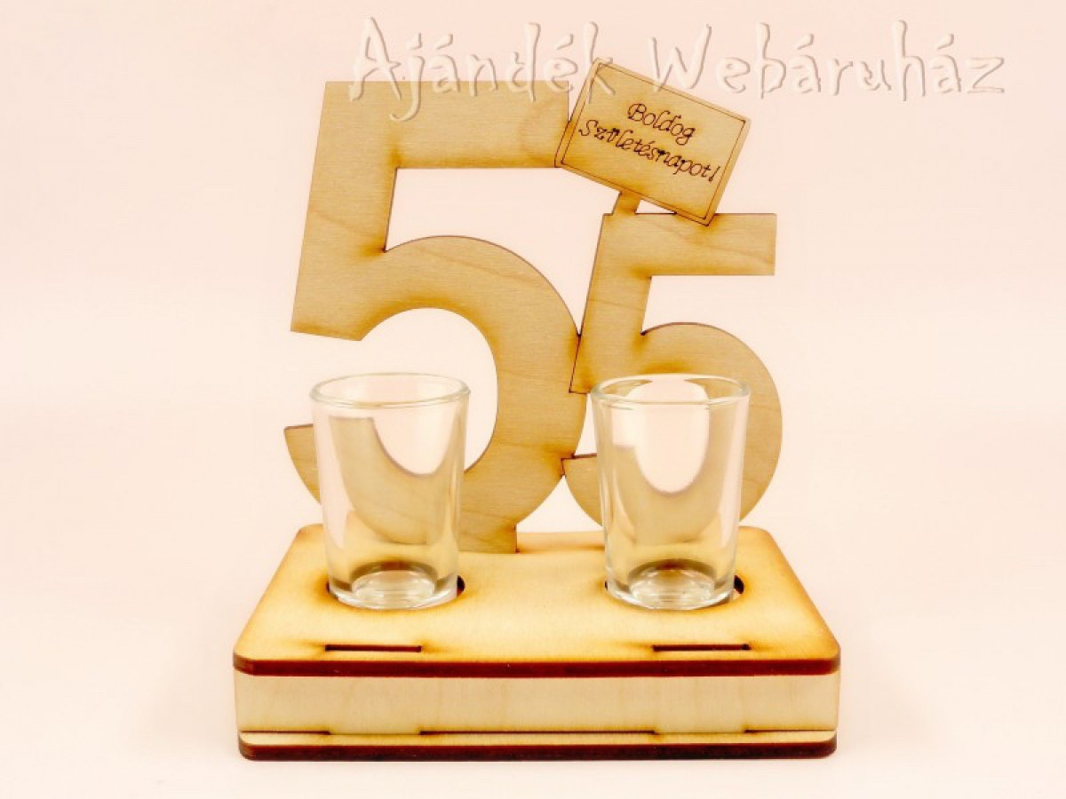 55. születésnapra pálinkás pohár szett - Ajándéktárgy  e99b86fa09