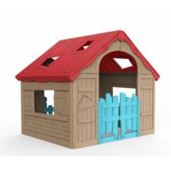 Curver 228444 Foldable Play House, játszóház piros - bézs - világos kék színben - CURVER kerti játékok Curver